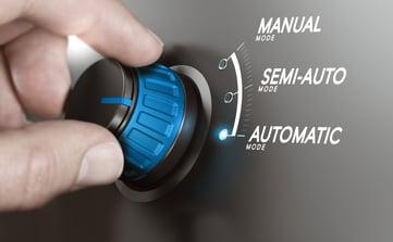 hand turning knob selecting automatic mode