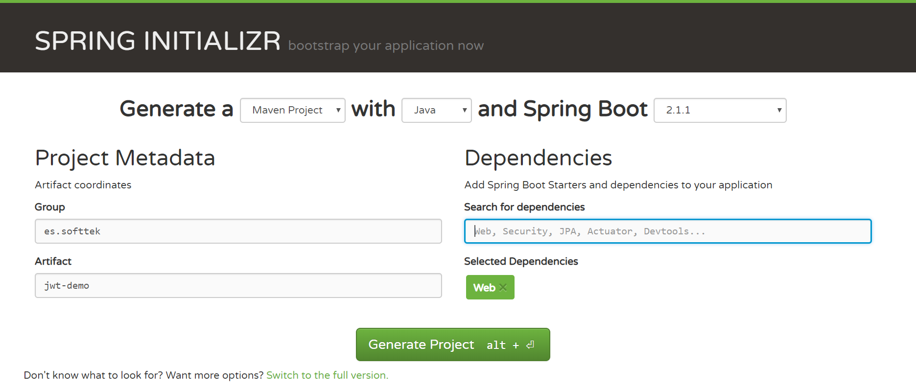 Spring Initializr platform to generate Maven Project